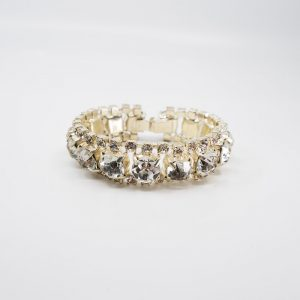 Large Three-row Rhinestone Bracelet