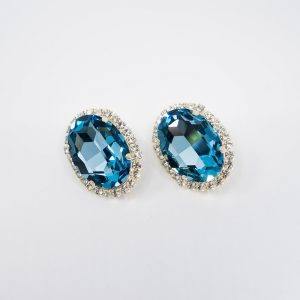 Large Oval Rhinestone Stud Earrings with Crystal Edging