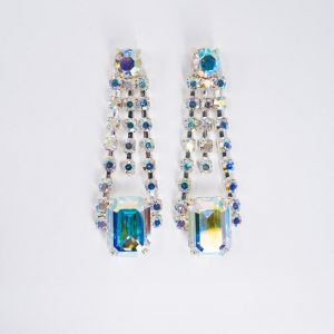 Vintage Inspired Drop Rhinestone Earrings 1