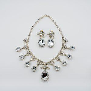 Teardrop Rhinestone Necklace & Earring Set