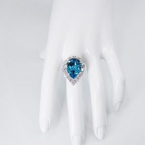 Teardrop Shaped Ring with Crystal Surround