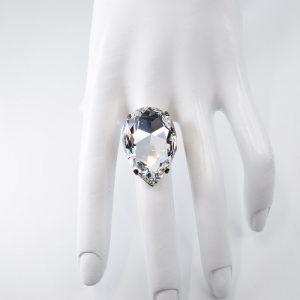 Teardrop Shaped Crystal Ring