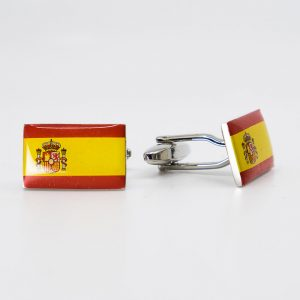 Spanish Flag Rhodium Plated Cufflinks