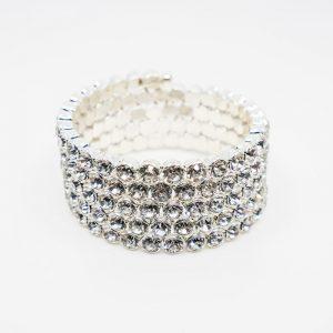 Coiled crystal spring bracelet